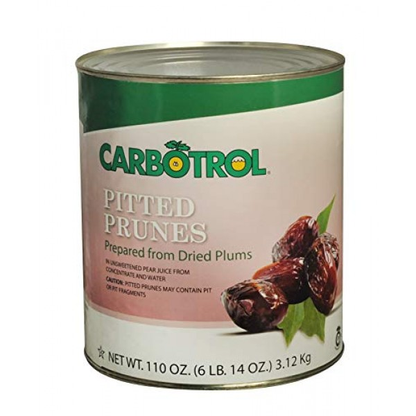 Carbotrol #10 Juice Packed Canned Fruit, Pitted Prunes 3 - 110o...