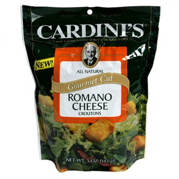 Cardini Gourmet Croutons, Romano Cheese, 5-Ounce Packages Pack ...