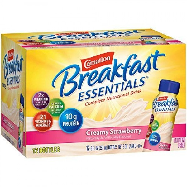 Carnation Breakfast Essentials Ready-to-Drink, Creamy Strawberry...