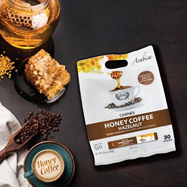 Carnes Premium Instant Coffee Mix with Honey Powder Hazelnut, 3...