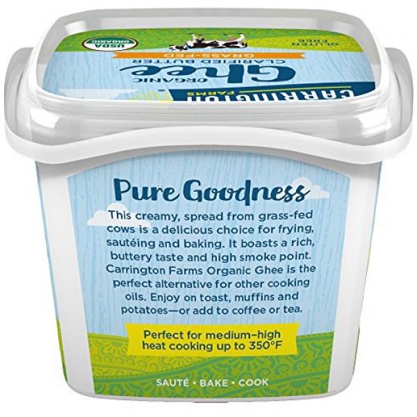 Carrington Farms USDA Certified Organic Grass Fed Ghee, 12oz., C...
