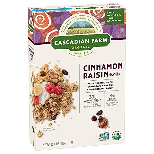 Cascadian Farm Organic Granola, Cinnamon Raisin Cereal, 6 Boxes,...