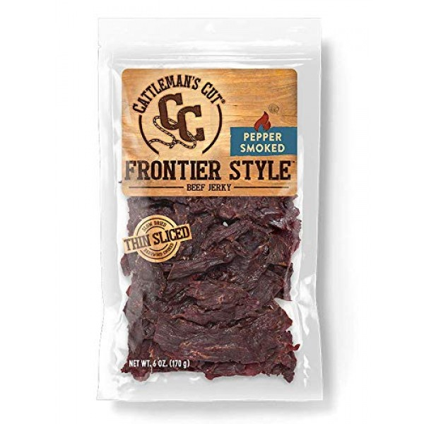 Cattlemans Cut Pepper Smoked Frontier Style Beef Jerky, 6 Ounce