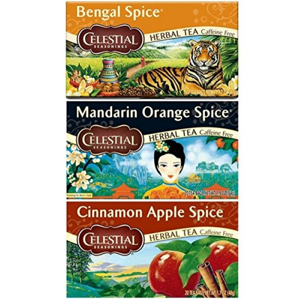 Celestial Seasonings Caffeine Free Herbal Spice Teas 3 Flavor Va...