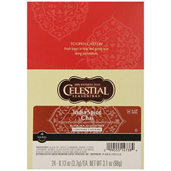 Celestial Seasonings India Spice Chai Black Tea, Single-Serve Ke...