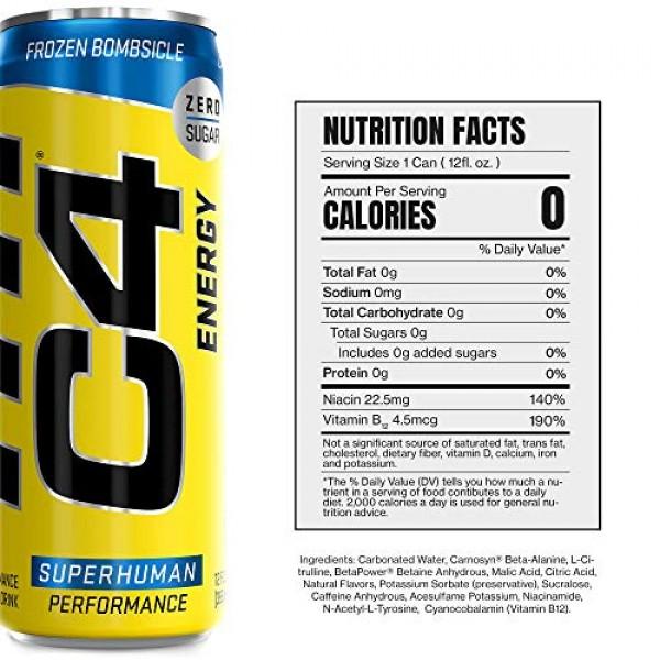 C4 Original Sugar Free Sparkling Energy Drink Frozen Bombsicle  ...