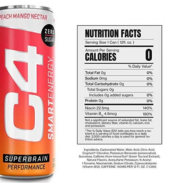 C4 Smart Energy Sugar Free Energy Drink 12oz Pack of 12 | Peac...