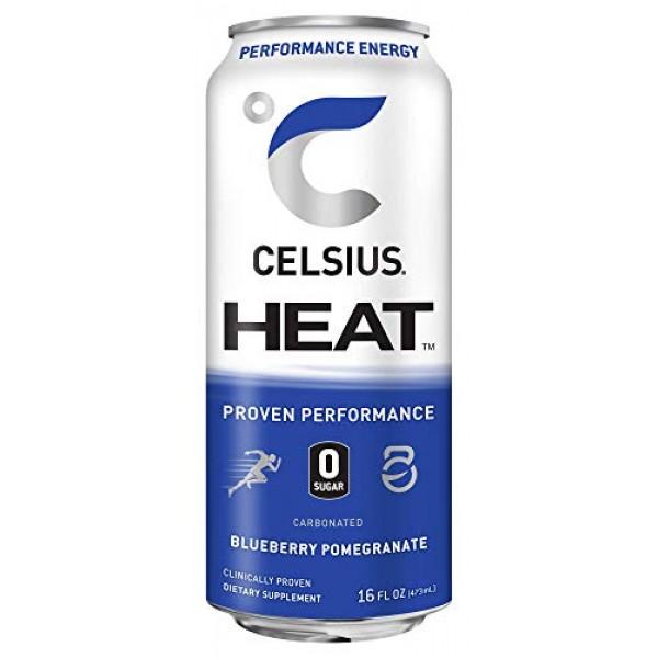 CELSIUS HEAT Blueberry Pomegranate Performance Energy Drink, Zer...