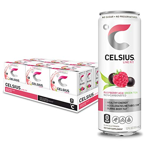 CELSIUS Raspberry Acai Green Tea Non-Carbonated Fitness Drink, Z...