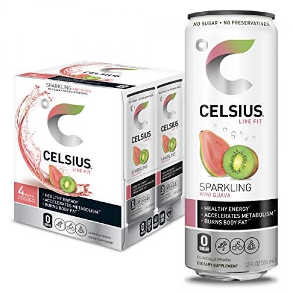 CELSIUS Sparkling Kiwi Guava Fitness Drink, Zero Sugar, 12oz. Sl...