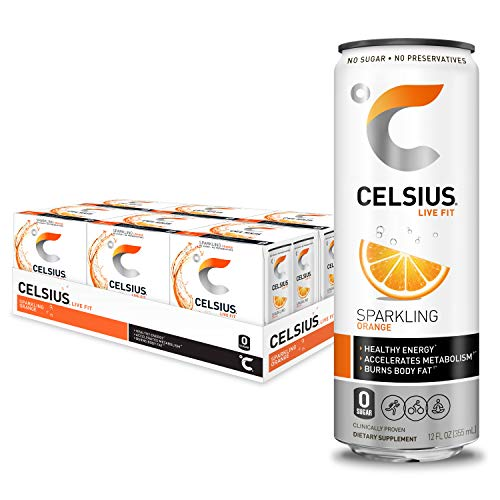 CELSIUS Sparkling Orange Fitness Drink, Zero Sugar, 12oz. Slim C...