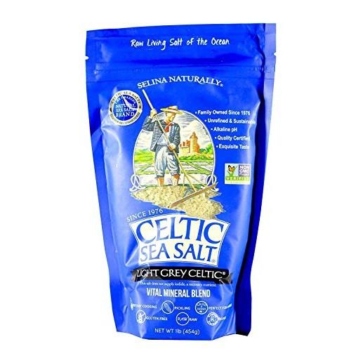 Light Grey Celtic coarse sea salt, 1 lb. bag Pack of 4