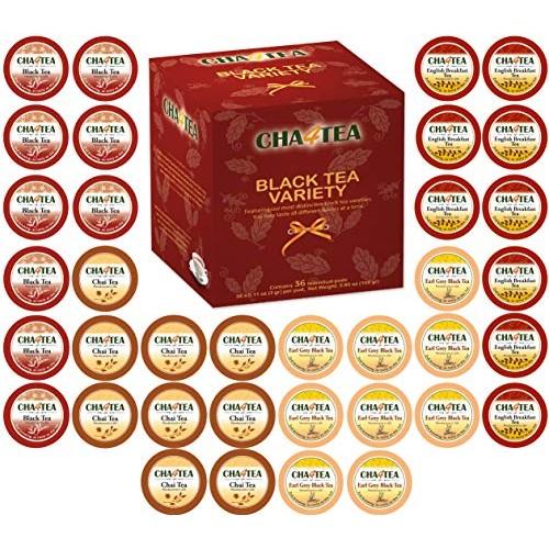 Cha4TEA 36-Count Assorted Black Tea Sampler for Keurig K-Cup Bre...