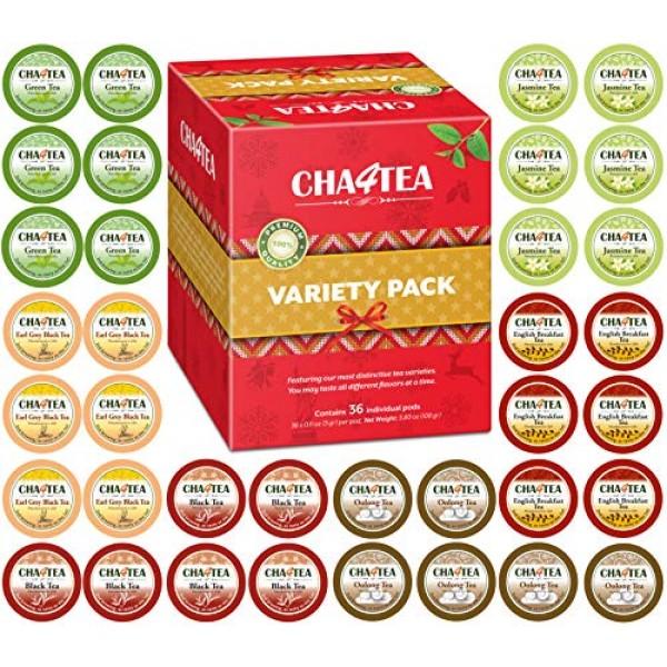 Cha4TEA 36-Count Variety Tea Sampler Pack for Keurig K-Cup Brewe...