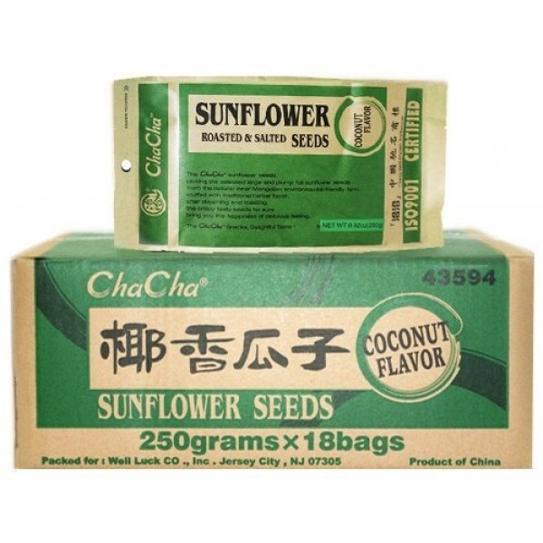 Chacha Sunflower Roasted and Salted Seeds Coconut Flavor 250g ...