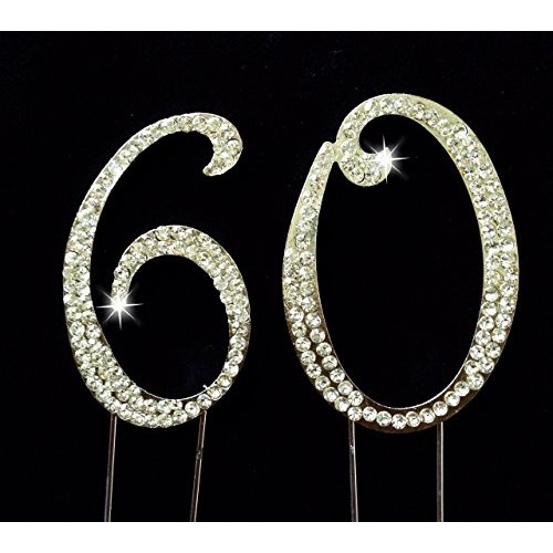 60th Birthday / Wedding Anniversary Number Cake Topper with Spar...
