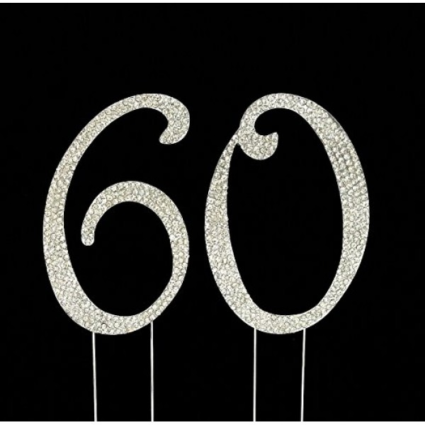 Large 60th Birthday/Wedding Anniversary Number Cake Topper with ...