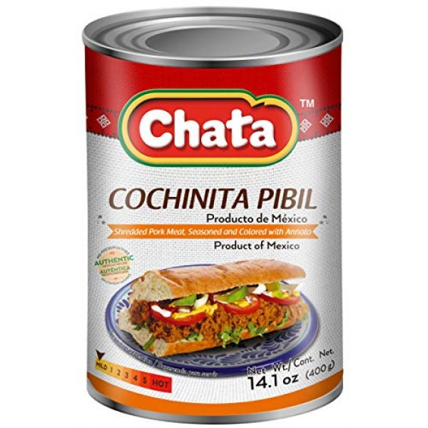 Chata Cochinita Pibil Can | Shredded, Annato Seasoned Pork Meat ...