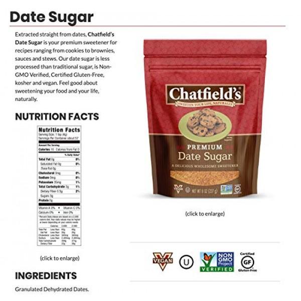 Chatfields Granulated Date Sugar, 100% Date Sweetener, 8 Oz. Pou...
