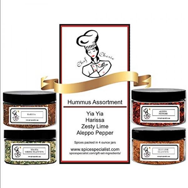 Chef Cheries Hummus Seasonings Assortment Set - Includes 4 diff...