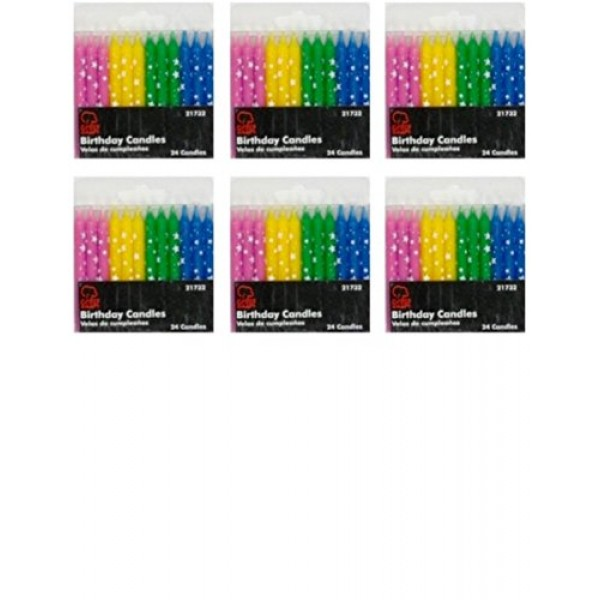 Birthday Candles, Polka Dot Stars, Set of 6 Packs - Total of 144...