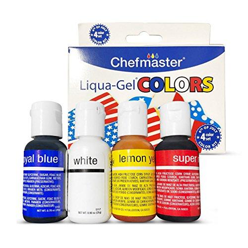 Chefmaster Liqua Gel Food Coloring Kit (4-Pack) 0.7-oz Vivid Foo...