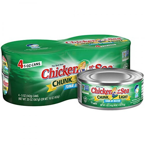 Chicken Of The Sea Chunk Light Tuna Fish In Water, 5oz Cans Pac...