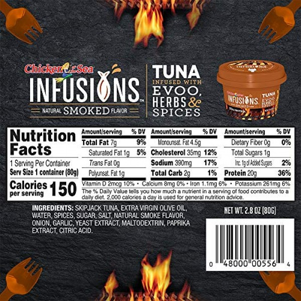 Chicken of the Sea Infusions Tuna, Smoked Flavor, 2.8 Oz. Cups ...