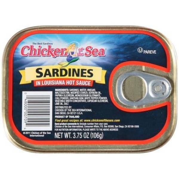 Chicken of the Sea Sardines in Louisiana Hot Sauce 3.75oz 4 Tins