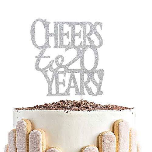 Sliver Glitter Cheer to 20 Years Cake Topper - Hello 20 - Happy ...