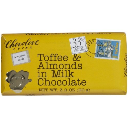 Chocolove XOXOX Milk Chocolate Toffee & Almond Bar - 3.2 oz(pack...
