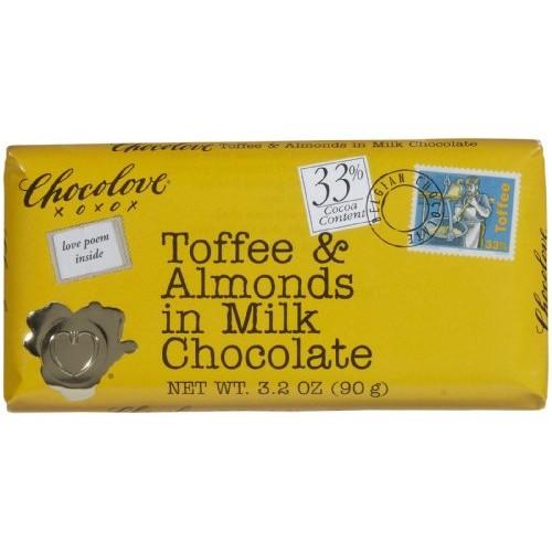Chocolove XOXOX Milk Chocolate Toffee & Almond Bar - 3.2 ozpack...