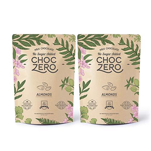 ChocZeros Keto Bark, Milk Chocolate Almonds, No Added Sugar, Lo...