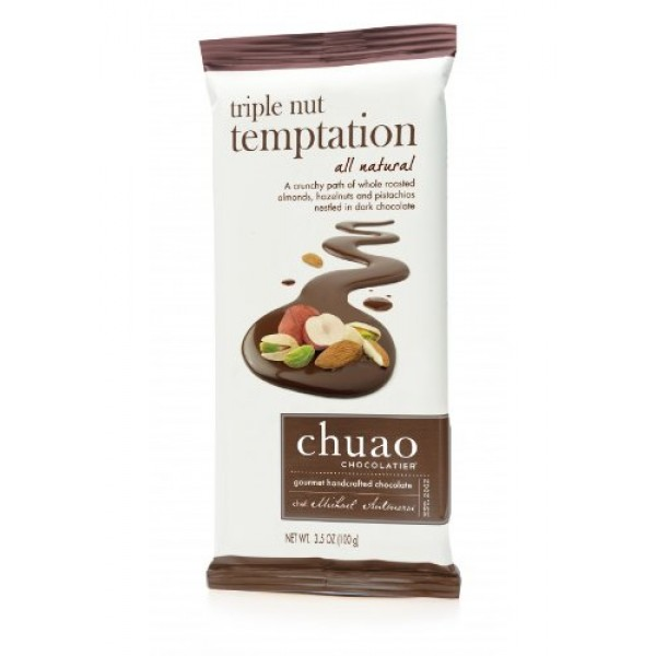 Chuao Triple Nut Temptation Chocolate Bar 3.5oz 4-pack