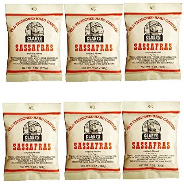 Claeys Old Fashioned Hard Candy - 6 oz - 6 Pack - Sassafras - Si...