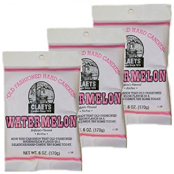 Claeys Watermelon Hard Candy, 3 Packages of 6 Ounces each
