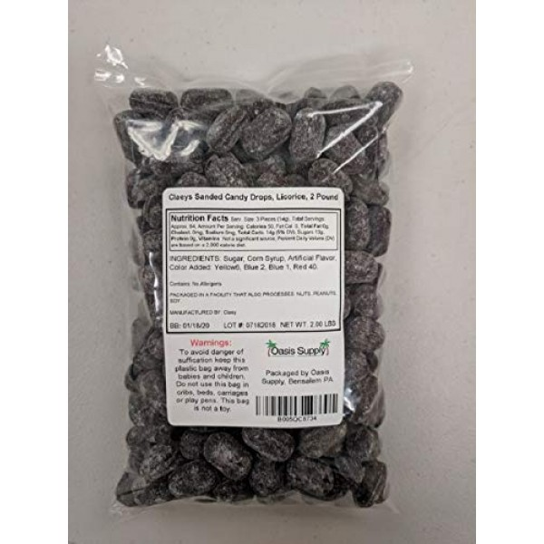 Claeys Licorice Sanded Candy Drops, 2 Pound