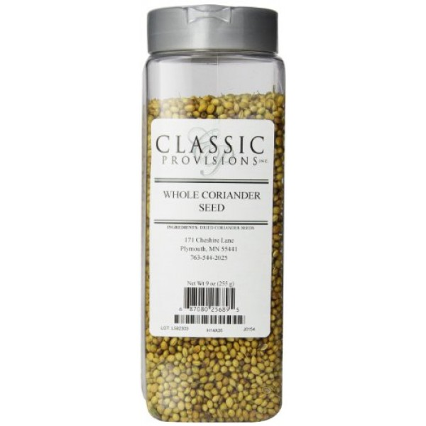 Classic Provisions Spices Coriander Seeds, Whole, 9 Ounce