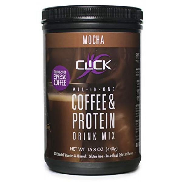 CLICK All-in-One Protein & Coffee Meal Replacement Drink Mix, Mo...
