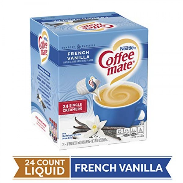 Coffee Mate Coffee Creamer Liquid Singles, French Vanilla, 24 Co...