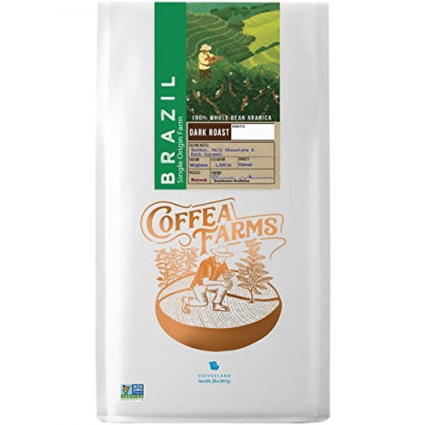 2LB Brazil Dark Roast Whole Bean Coffee - Single Origin Whole Be...