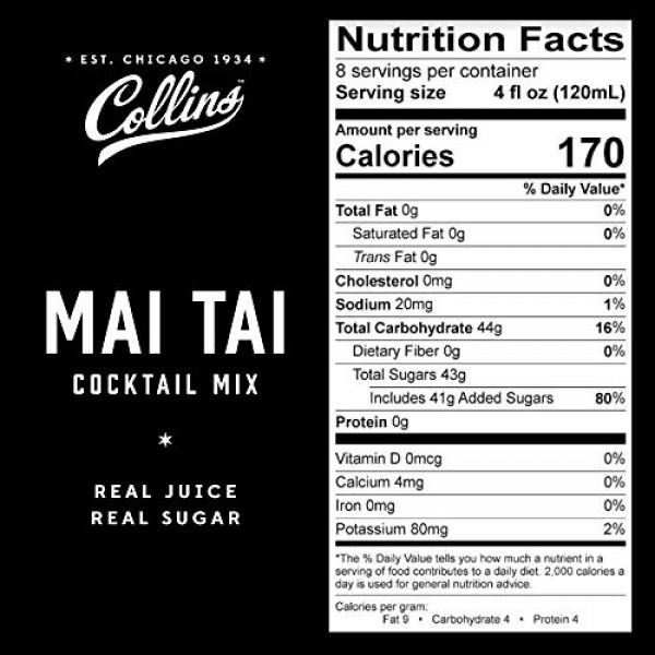 Collins Mai Tai Mix, Made With Real Orange and Lime Juice with N...