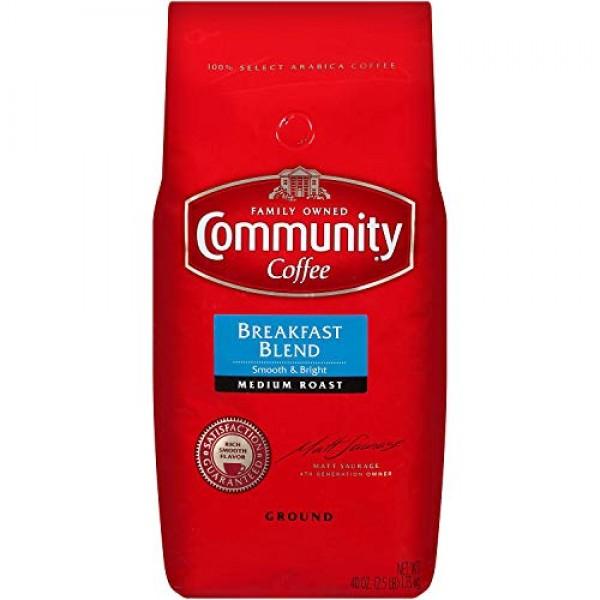 Community Coffee, Breakfast Blend, Ground 40 Oz. Bag, 2 Pack