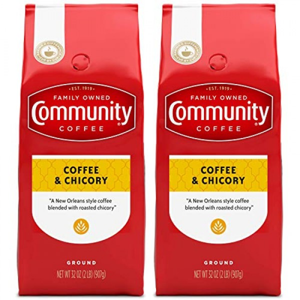 Community Coffee Ground Coffee & Chicory Blend, 32 Ounces Pack ...