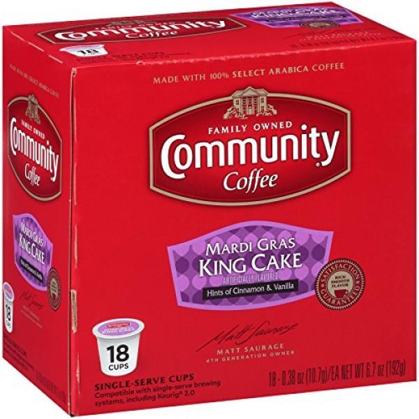 Community Coffee Mardi Gras King Cake Flavored Medium Roast Sing...