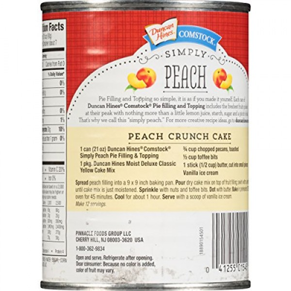 Comstock Simply Pie Filling & Topping, Peach, 21 Ounce Pack of 8