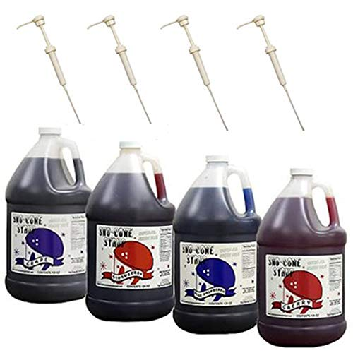 Snow Cone Syrup Gallons W/pumps Blue Raspberry-Grape-Cherry-Str...