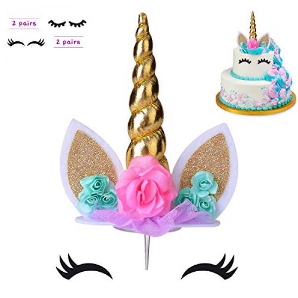 COONOE, Unicorn Cake Topper,Handmade Party Cake Decoration Suppl...