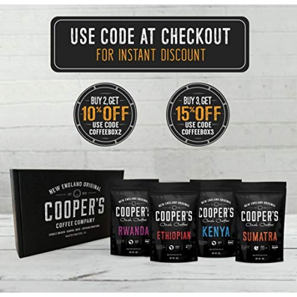 Gourmet Coffee Sampler Gift Box Set   Whole Bean Coffee 4 bags  ...