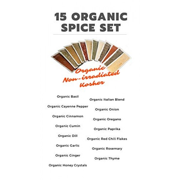 Cpise Organic Spice Starter Gift Set - Includes 15 Spices, Herbs...